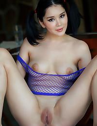 Malena nude in softcore PURPLE MESH gallery - MetArt.com
